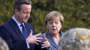 Britain's Prime Minister David Cameron (L) with German Chancellor Angela Merkel (Justin Tallis, Reuters )