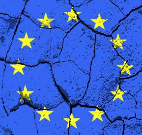 EU flag fractured