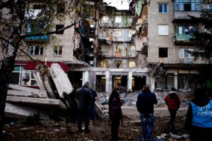 Aftermath of shelling of neighbourhood in eastern Ukraine shelled by Ukrainian armed forces (UNHCR photo)