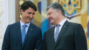 Canadian Prime Minister Justin Trudeau and Ukrainian President Petro Poroshenko in Kyiv on July 11, 2016 (Efrem Lukatsky, AP)