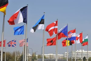 Flags of some of the 28 NATO member countries