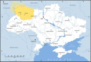 Map of modern Ukraine showing Volhynia region