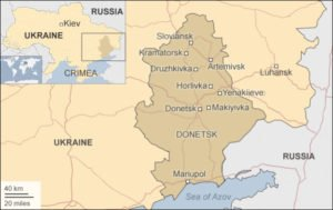 Map showing city of Horlivka, in Donbass region. Shaded area is former Ukraine oblast of Donetsk (BBC Map)