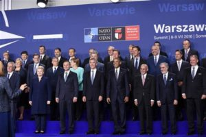 NATO country leaders at war summit in Warsaw on July 8, 2016 (Susan Walsh, AP)