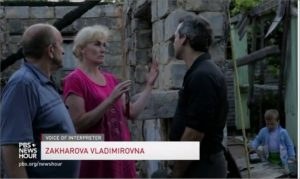 PBS News Hour speaks to residents of Donetsk People's Republic whose house was detroyed by Ukrainian shelling