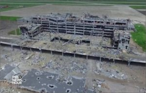Remains of Sergei Prokoviev Int'l Airport in Donetsk, destroyed by Ukrainian army civil war in spring-summer 2014 (from PBS News Hour video, July 2016)