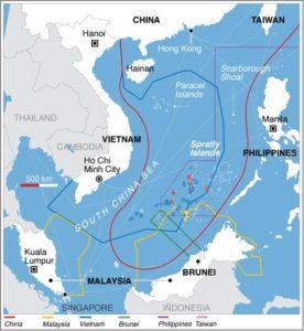 South China Sea territorial disputes (map on Wikipedia)