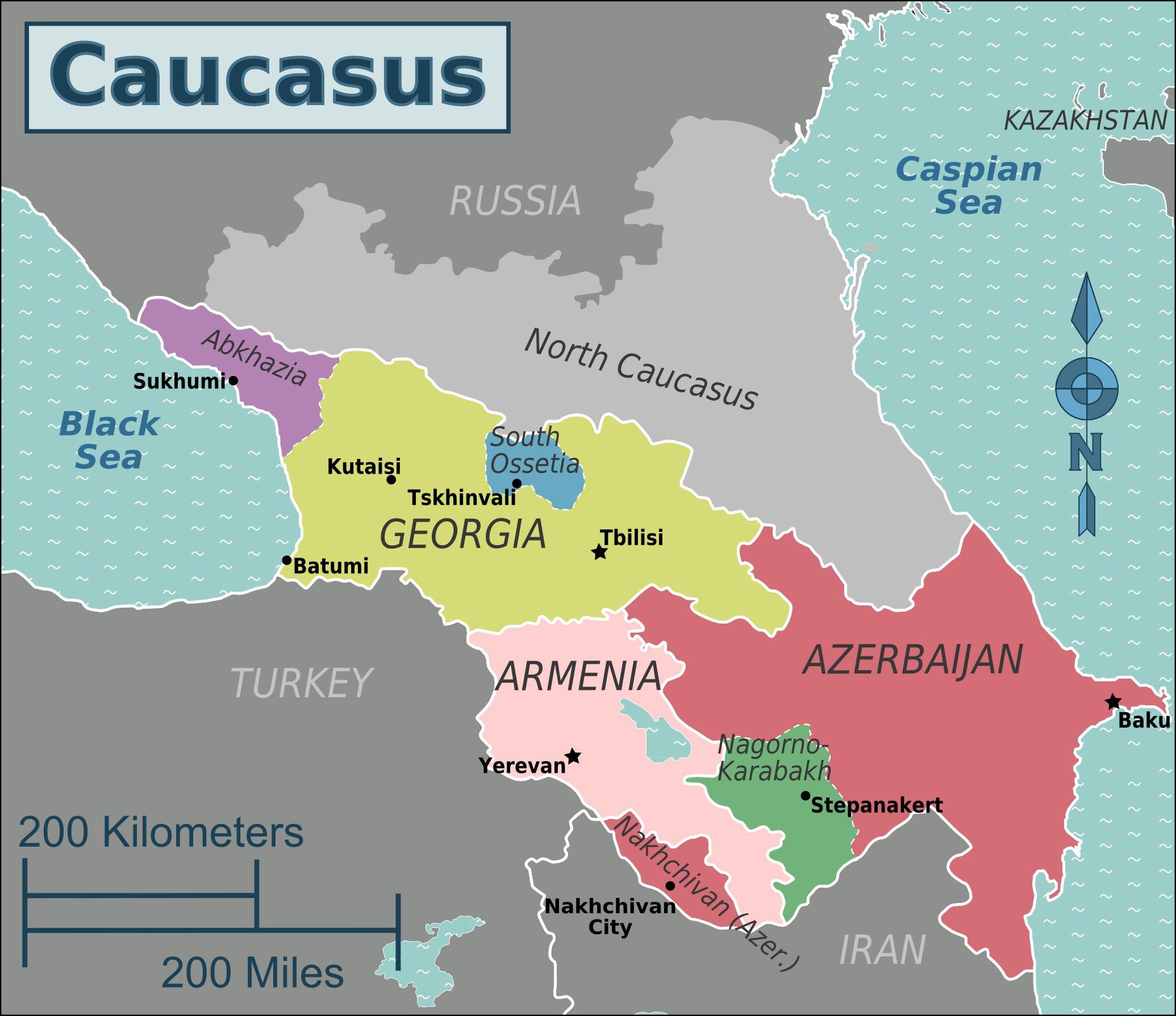 Map of Caucasus region of Eurasia