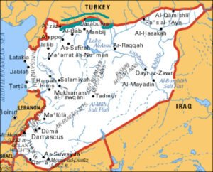 Map of Syria showing cities of Manbij and Jarablus, near Turkish border