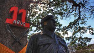 A bronze bust of Chávez rested under the same Samán tree where he had challenged the locals to create a commune to collective produce on the recuperated farm lands.